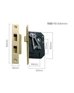 3 Lever Mortice Lock Polished Brass 1130
