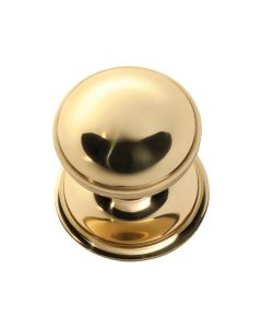 Centre Door Knob Polished Brass 1306