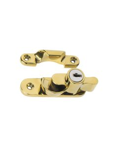 Key Operated Locking Sash Fasteners Polished Brass 1606
