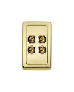 4 Gang Flat Plate Toggle Switch Polished Brass 5955
