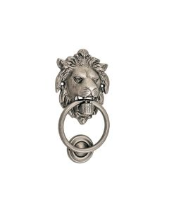 Lion Door Knocker Rumbled Nickel 9337