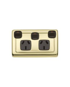 Double Flat Plate Socket Switch Polished Brass 5807