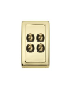 4 Gang Flat Plate Toggle Switch Polished Brass 5905
