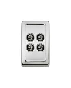 4 Gang Flat Plate Toggle Switch Chrome Plate 5945